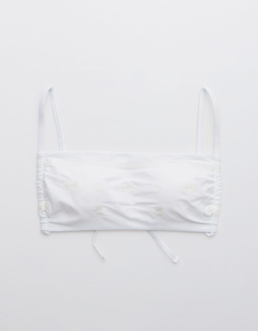 Aerie Embroidered Ruched Bandeau Bikini Top