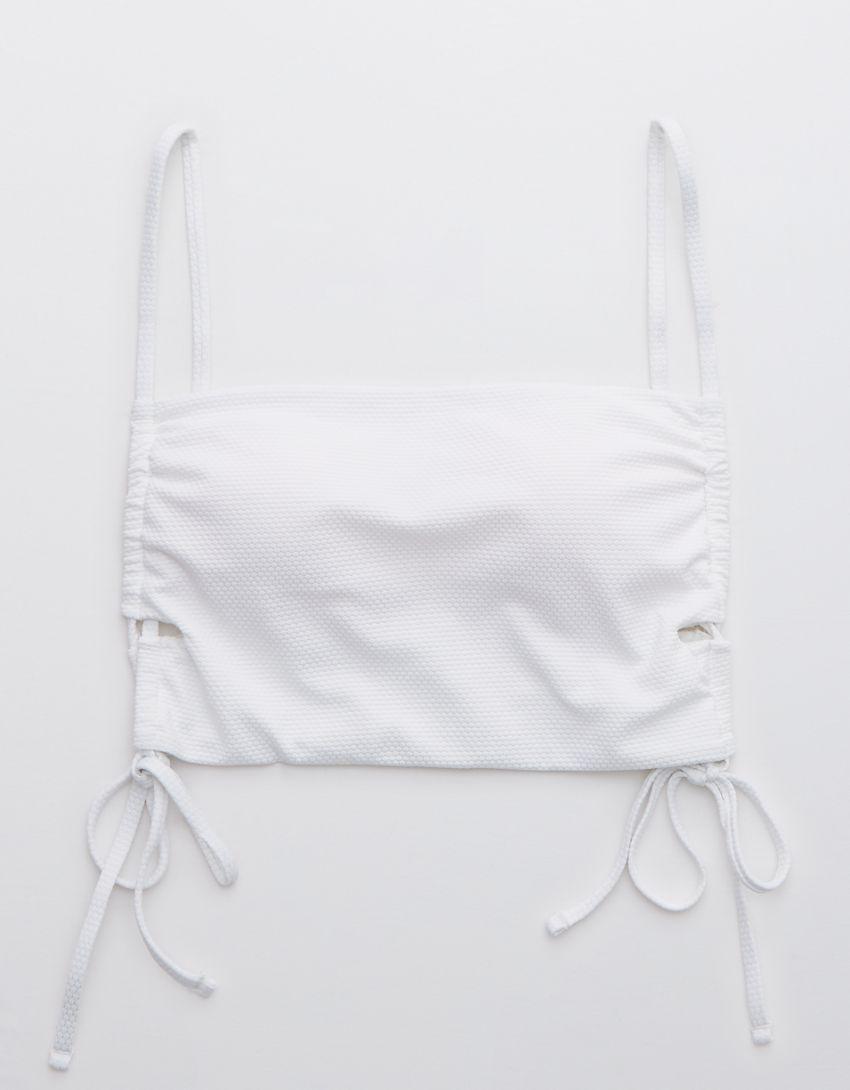 Aerie Pique Lace Up Longline Bandeau Bikini Top