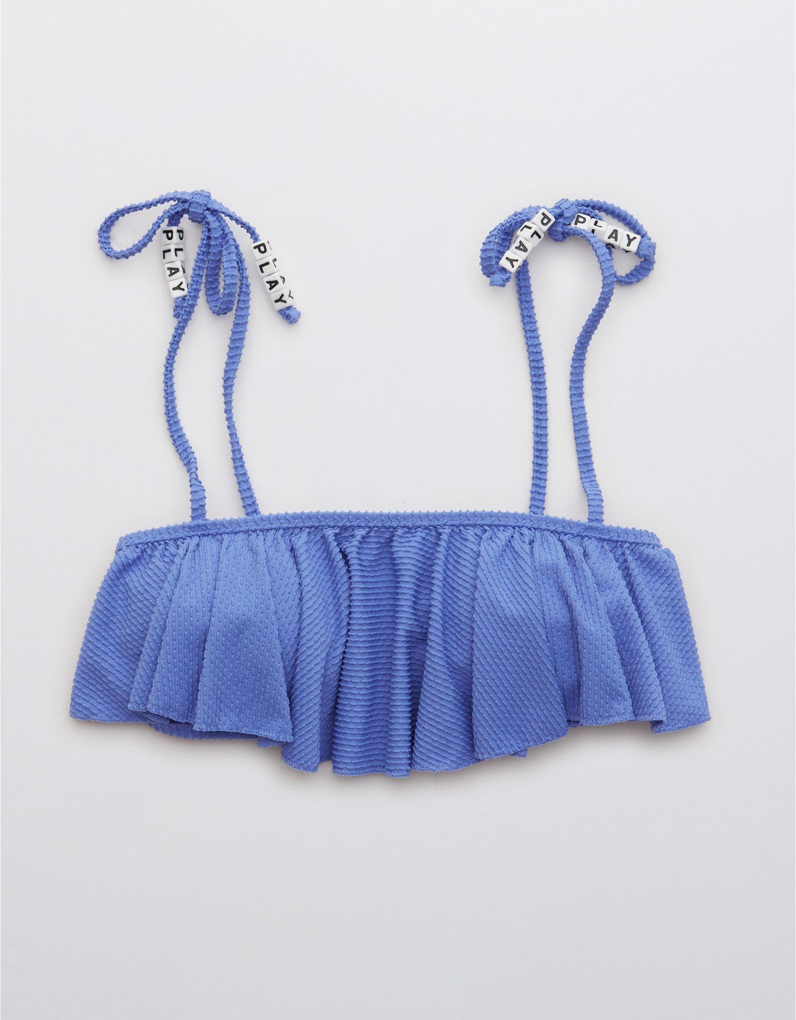 Aerie Textured Ruffle Bandeau Bikini Top