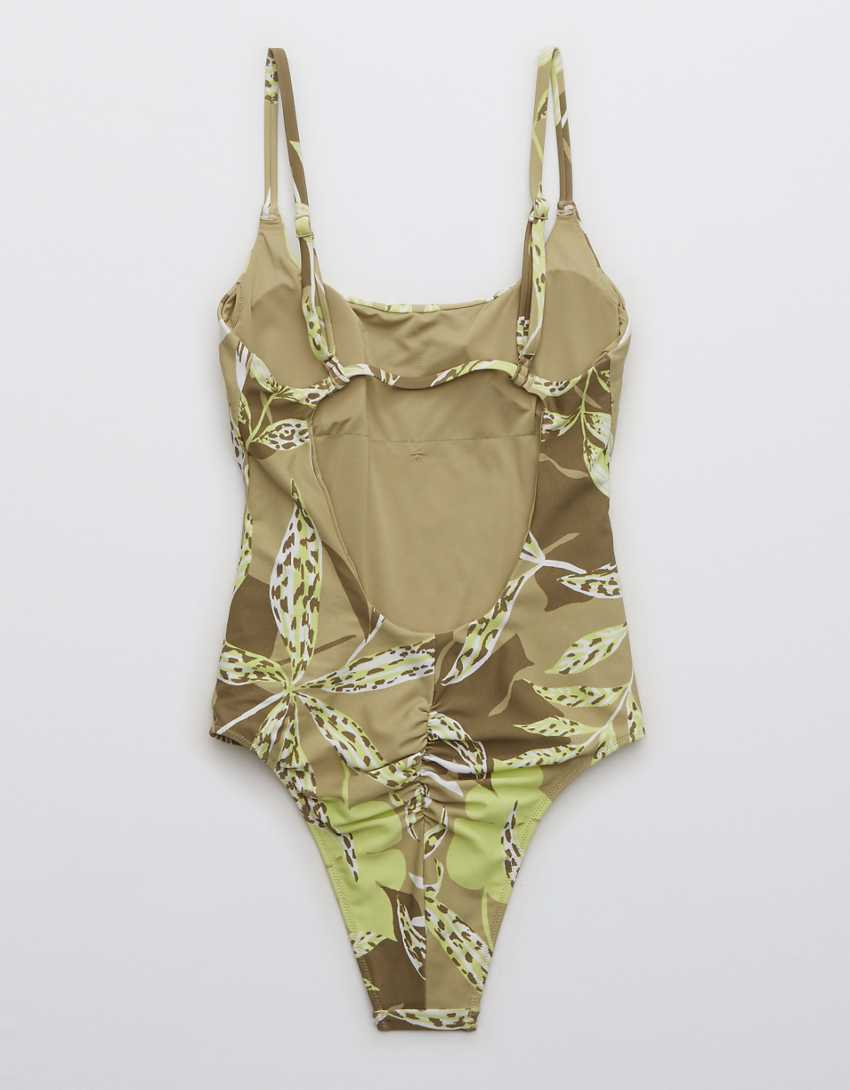 OFFLINE Real Me Printed Ruched Scoop One Piece Swimsuit