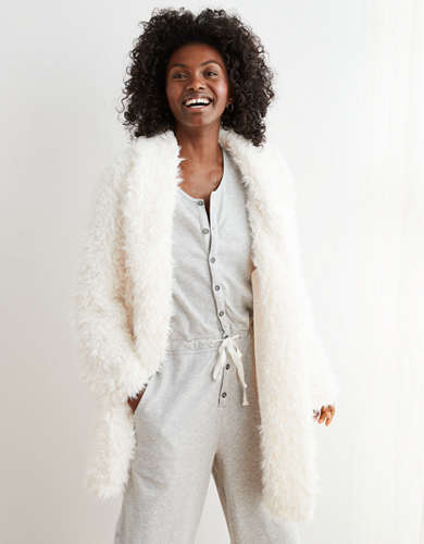 Aerie Fuzzy Sherpa Coat-igan