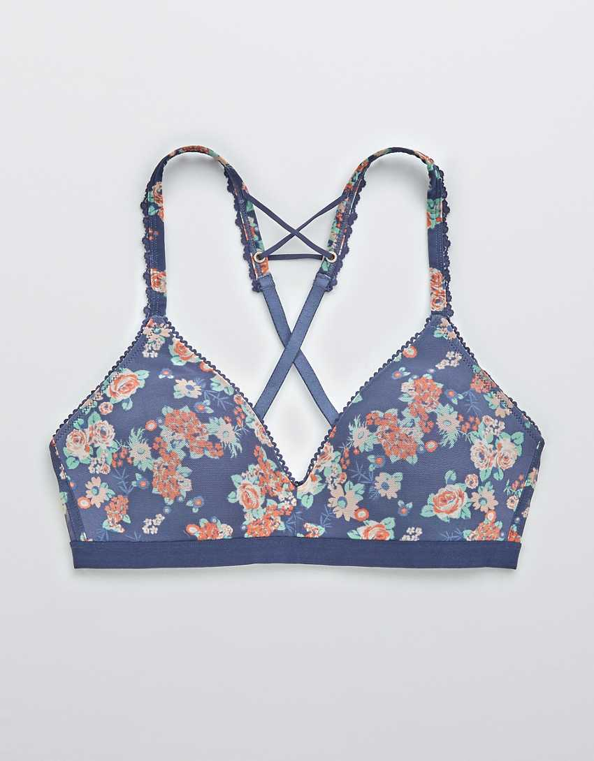 Aerie Real Happy Wireless Lightly Lined Mesh Bra