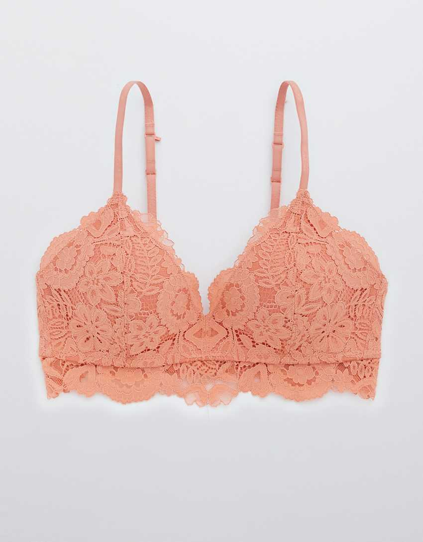 Aerie Real Happy Wireless Lightly Lined Bluegrass Lace Bra