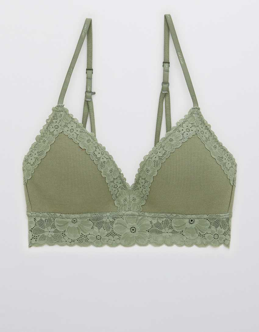 Aerie Real Happy Wireless Lightly Lined Retro Lace Bra