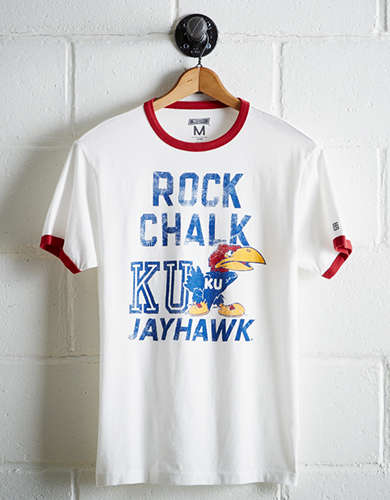 Tailgate Men's Kansas Rock Chalk Ringer T-Shirt - Free Returns