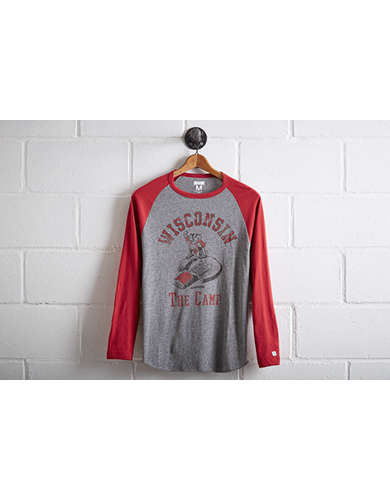 Tailgate Men's Wisconsin Badgers Baseball Shirt - Free Returns