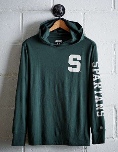 Tailgate Men's Michigan State Hoodie Tee - Free Returns