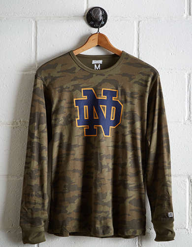 Tailgate Men's Notre Dame Camo Long Sleeve Tee - Free Returns