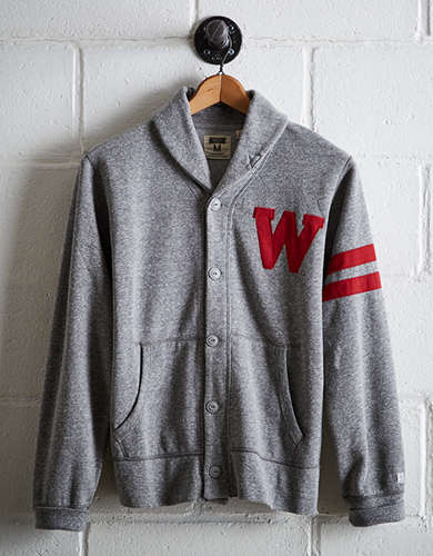 Tailgate Men's Wisconsin Shawl Cardigan - Free Returns