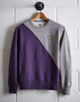 Tailgate Men's LSU Diagonal Colorblock Sweatshirt
