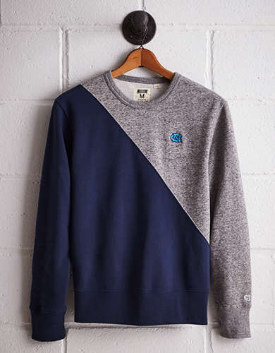 Tailgate Men's UNC Diagonal Colorblock Sweatshirt - Free Returns