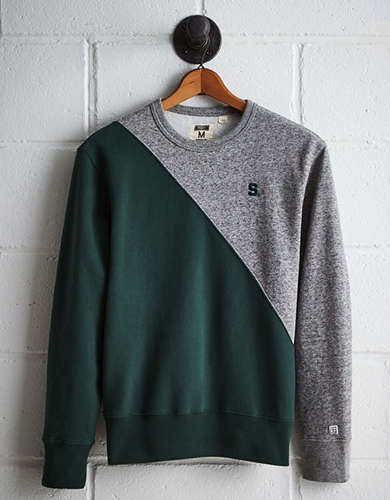 Tailgate Men's Michigan State Diagonal Colorblock Sweatshirt - Free returns