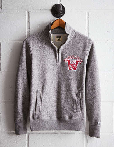 Tailgate Men's Wisconsin Half-Zip Fleece Popover - Free Returns