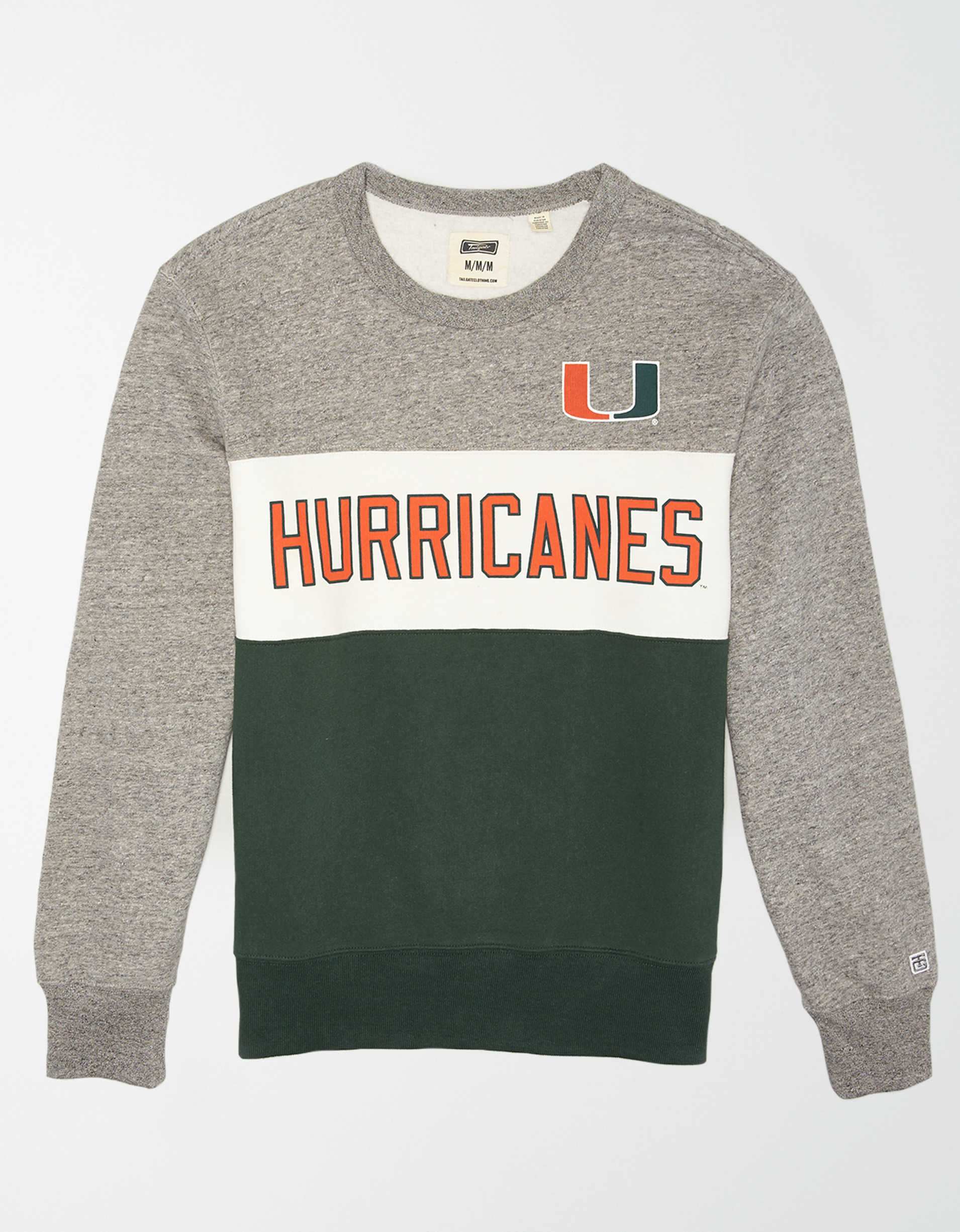 Tailgate Men's Miami Hurricanes Colorblock Fleece Sweatshirt