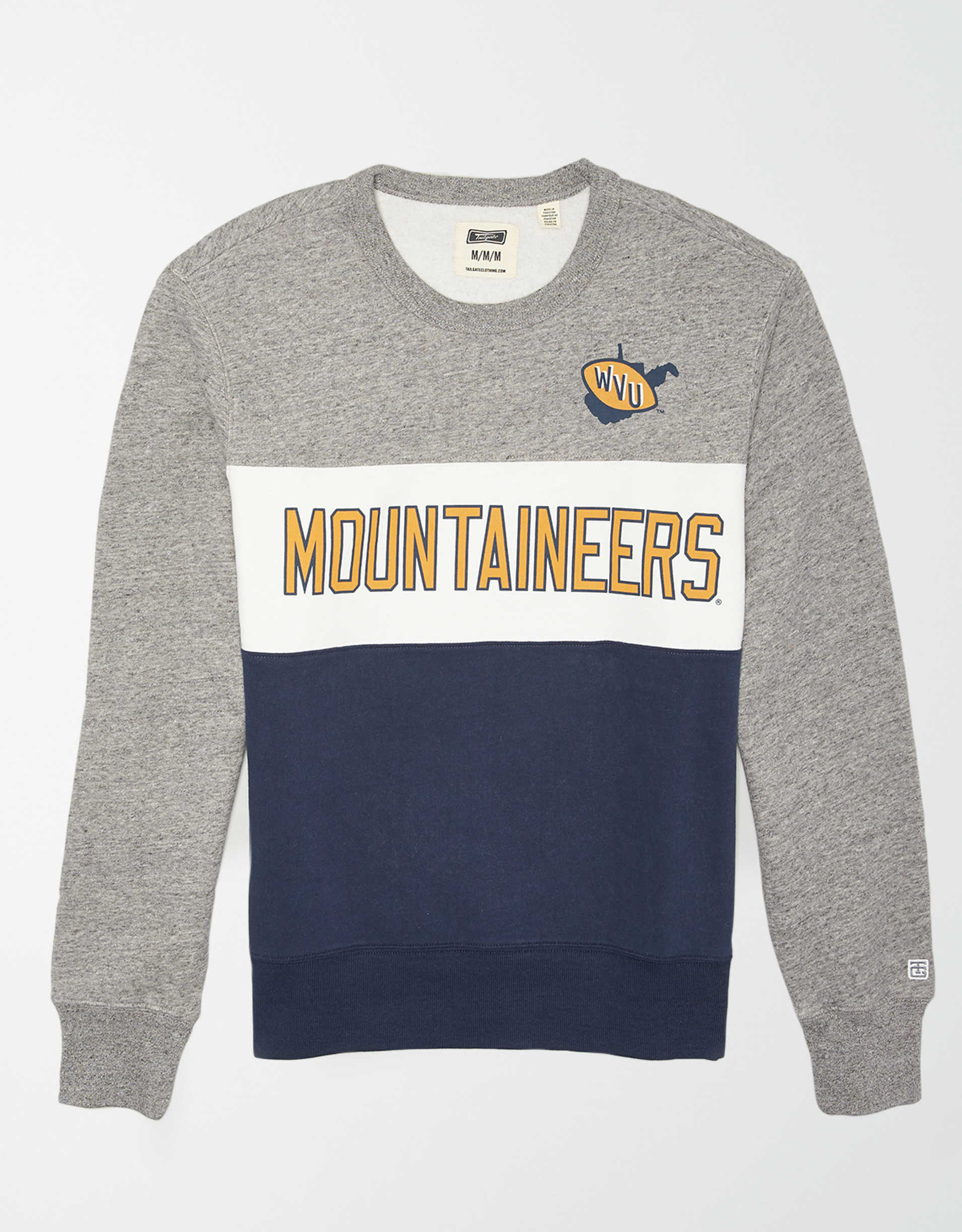 Tailgate Men's WVU Mountaineers Colorblock Fleece Sweatshirt