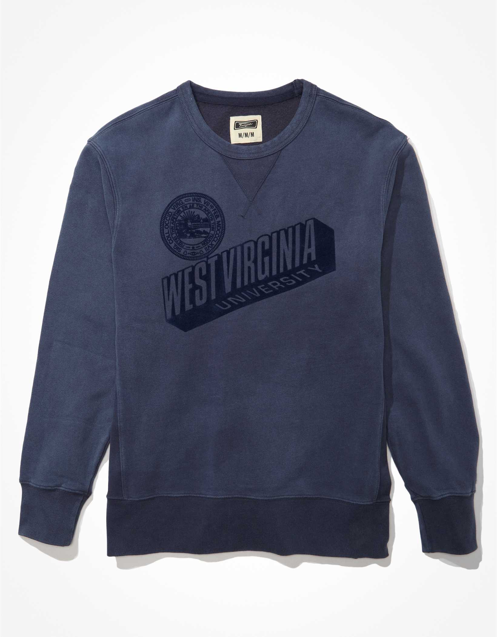 Tailgate Men's WVU Mountaineers Tonal Fleece Crew Neck Sweatshirt