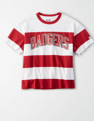 Tailgate Women's Wisconsin Badgers Striped T-Shirt