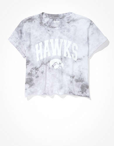 Tailgate Women's Iowa Hawkeyes Cropped Tie-Dye T-Shirt