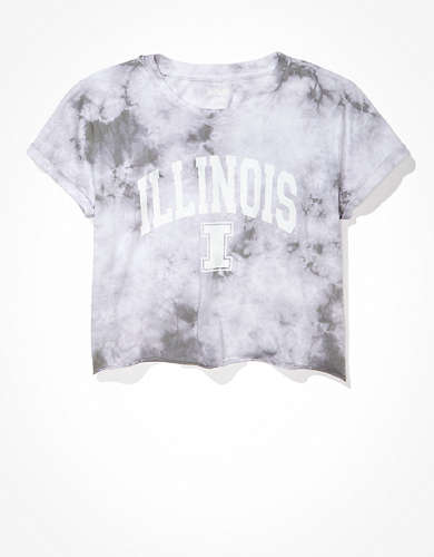 Tailgate Women's Illinois Fighting Illini Cropped Tie-Dye T-Shirt