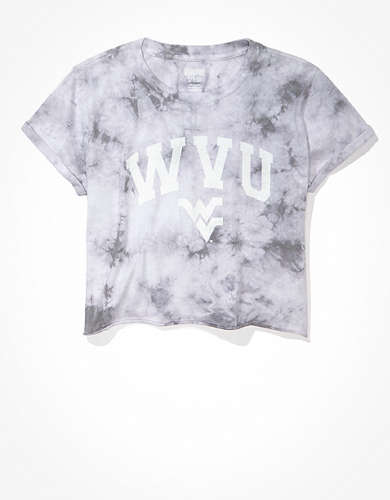 Tailgate Women's WVU Mountaineers Cropped Tie-Dye T-Shirt