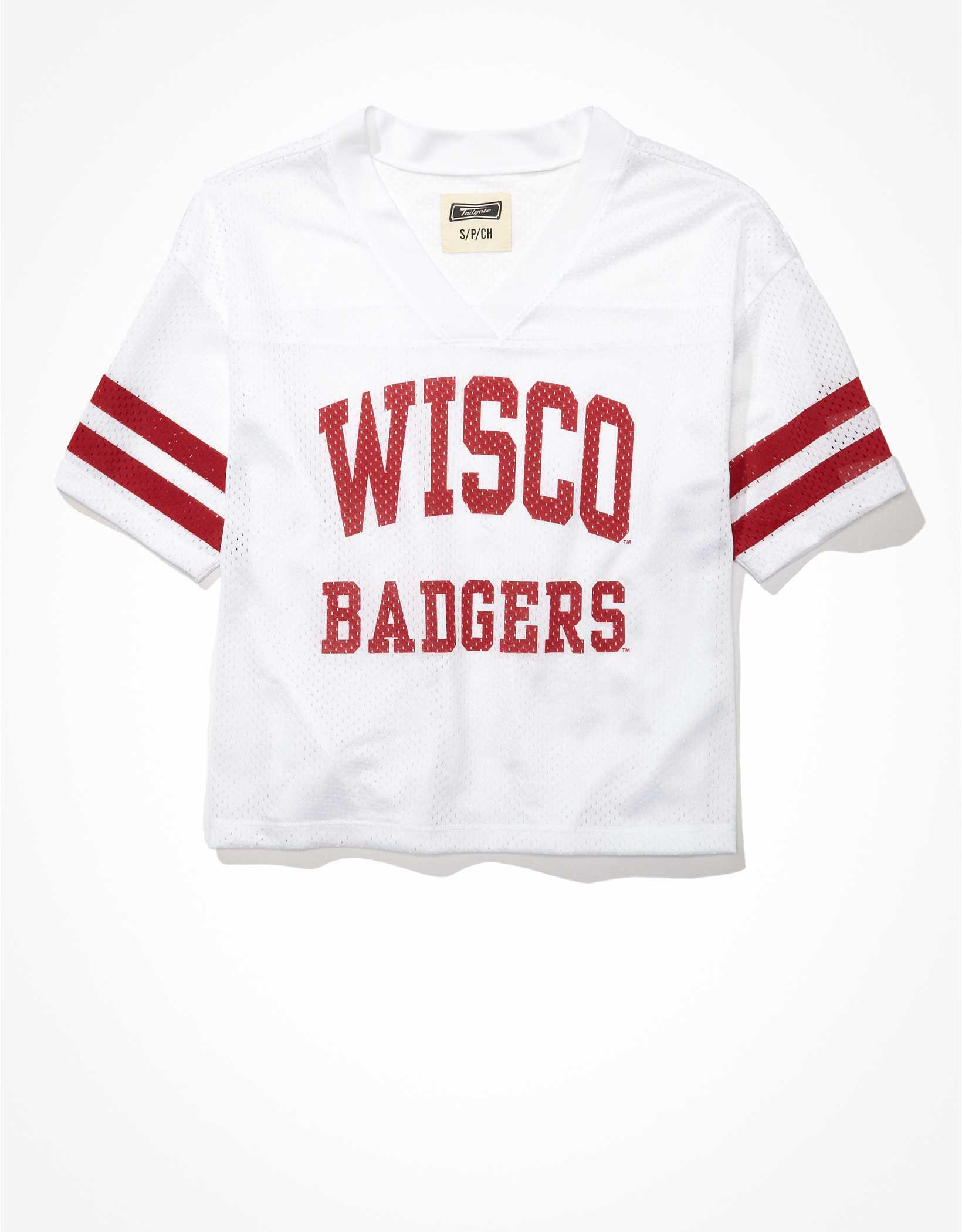 Tailgate Women's Wisconsin Badgers Cropped Mesh Jersey