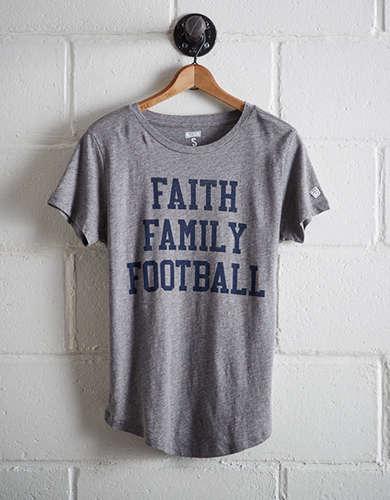 Tailgate Women's Faith Family Football T-Shirt - Free Returns