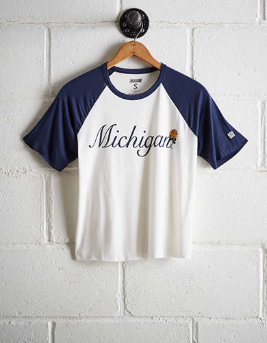 Tailgate Women's Michigan Cut-Off Baseball Tee - Free Returns