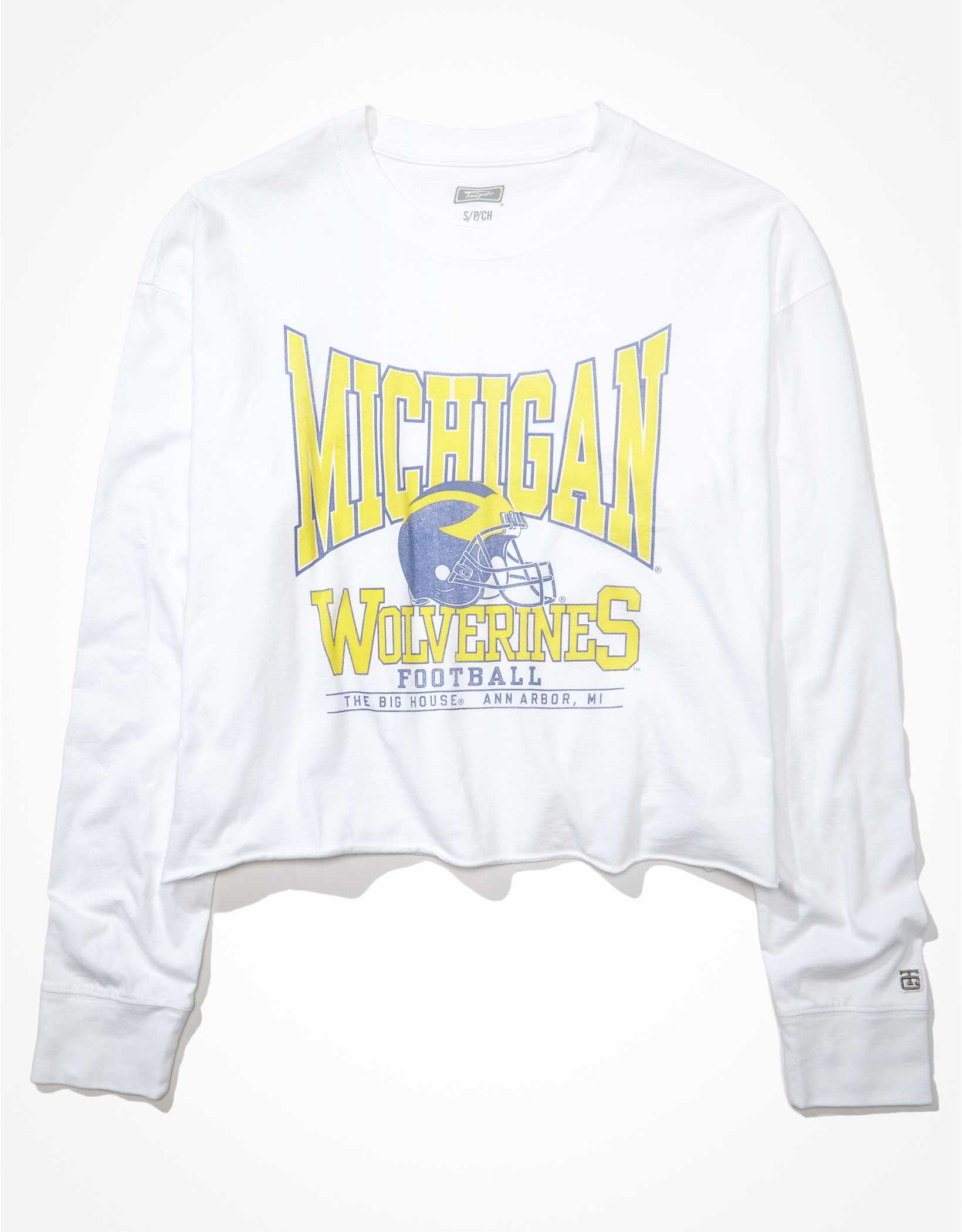 Tailgate Women's Michigan Wolverines Raw Hem Long-Sleeve T-Shirt
