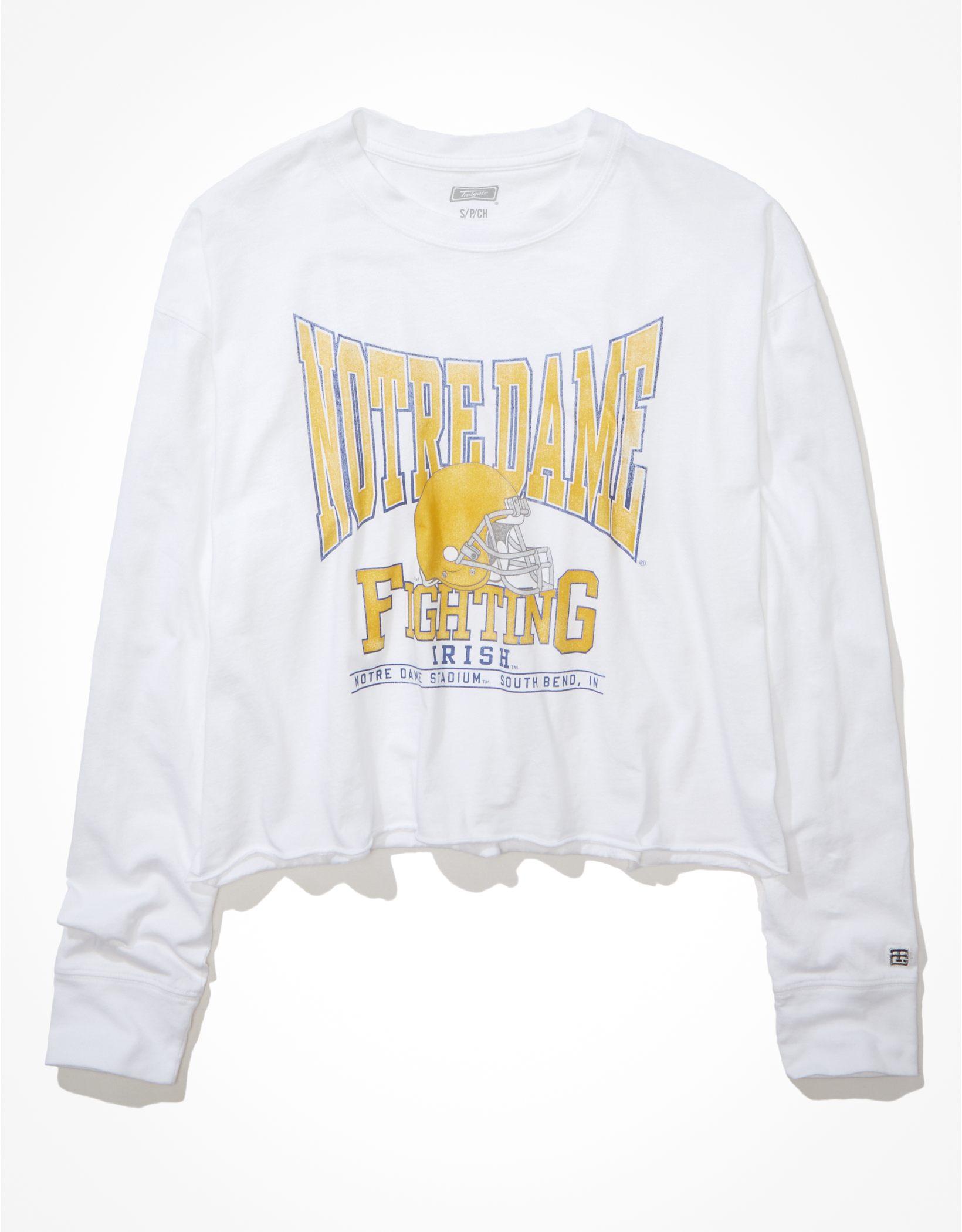 Tailgate Women's Notre Dame Raw Hem Long-Sleeve T-Shirt