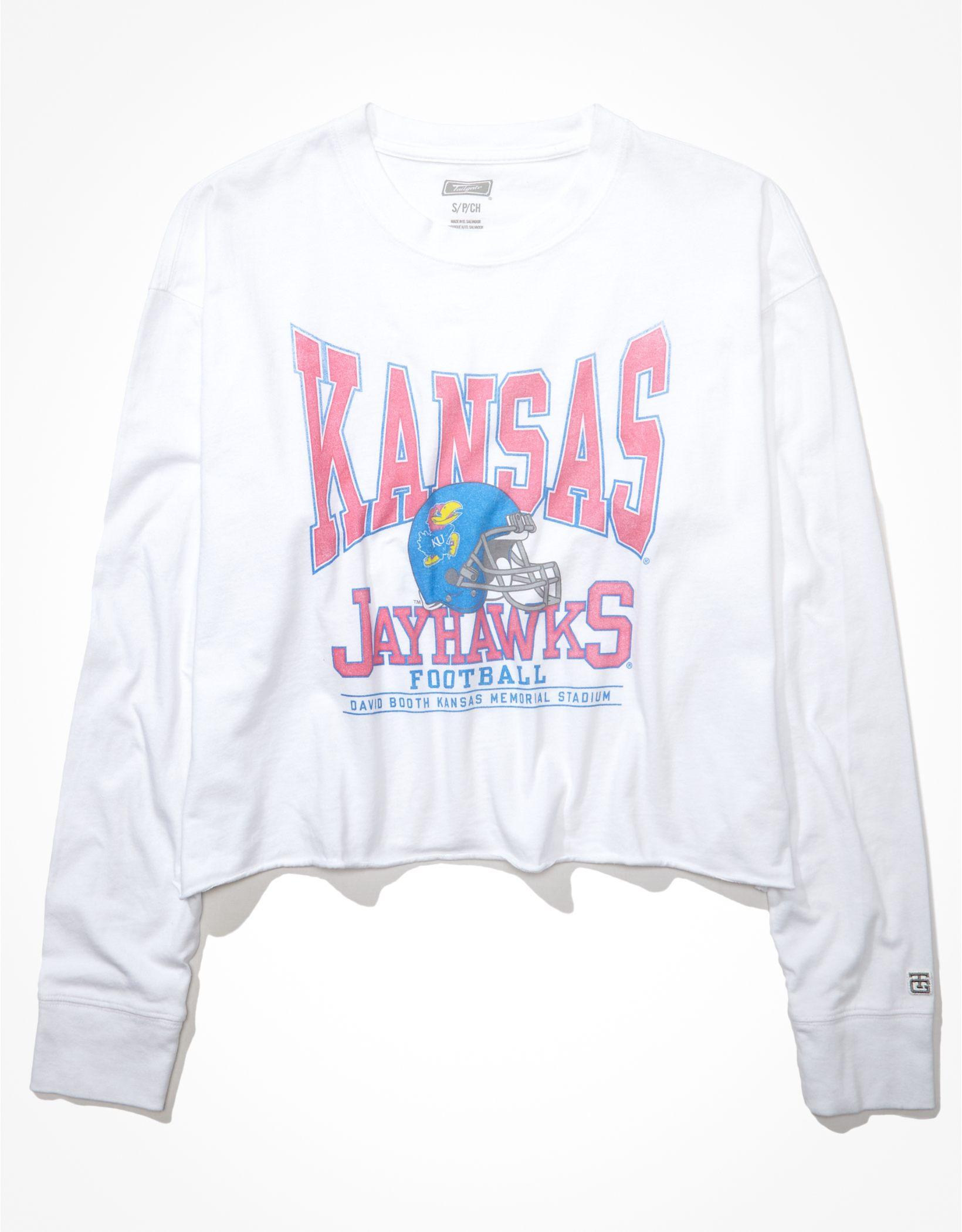 Tailgate Women's Kansas Jayhawks Raw Hem Long-Sleeve T-Shirt