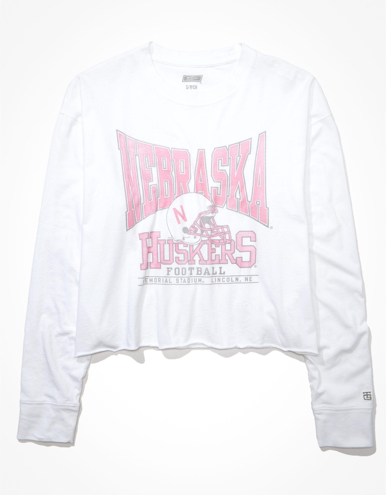 Tailgate Women's Nebraska Cornhuskers Raw Hem Long-Sleeve T-Shirt