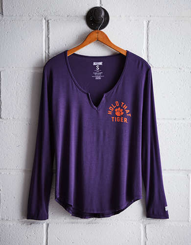 Tailgate Women's Clemson Split Neck T-Shirt - Free Returns