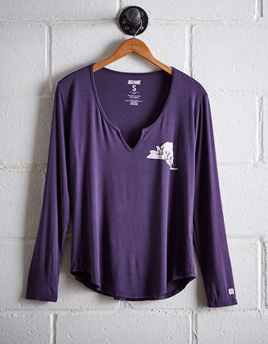 Tailgate Women's NYU Split Neck T-Shirt - Free returns