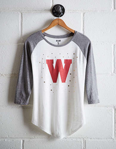Tailgate Women's Wisconsin Foil Star Baseball Shirt - Free Returns