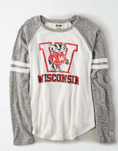 Tailgate Women's Wisconsin Badgers Plush Raglan Shirt