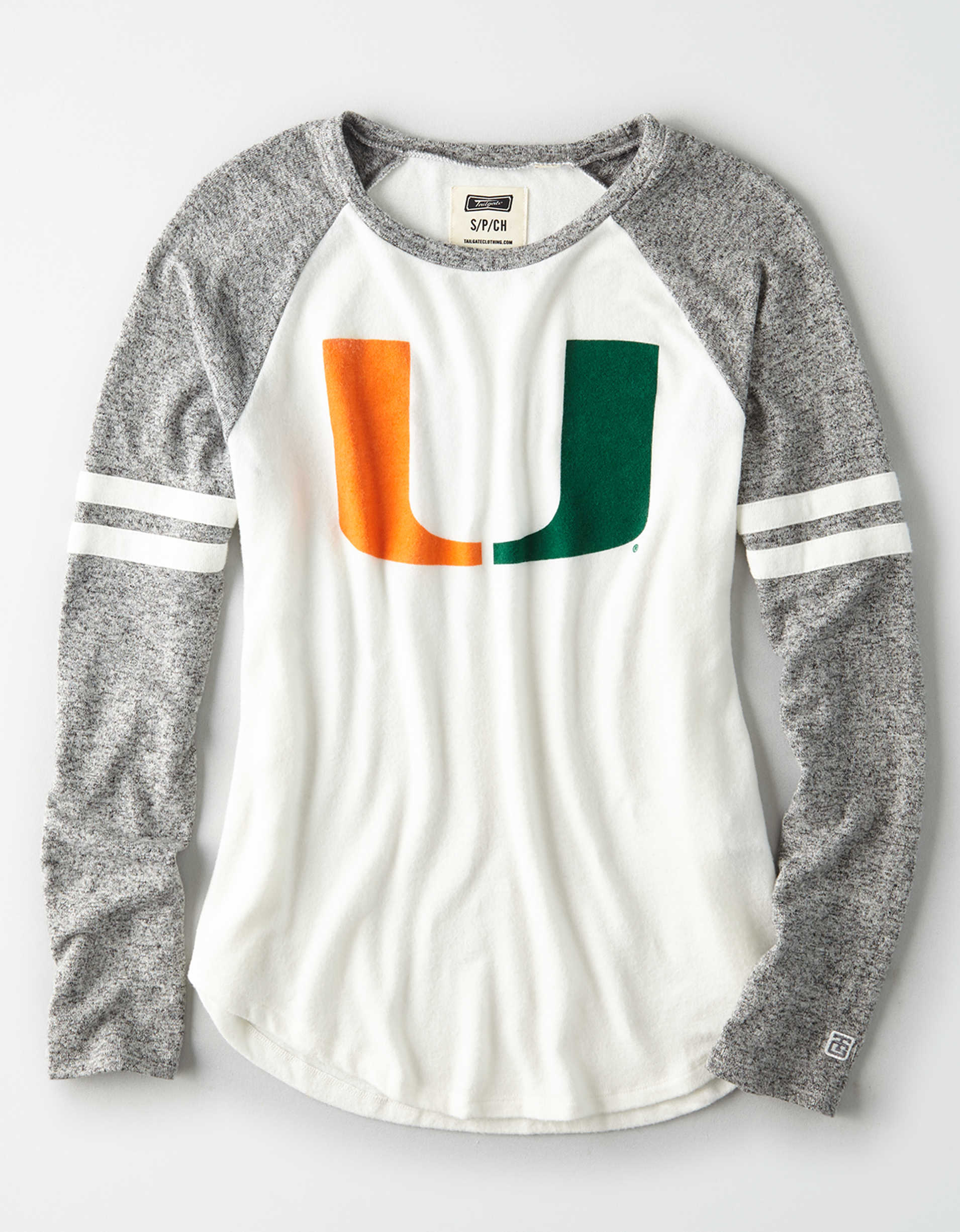 Tailgate Women's Miami Hurricanes Plush Raglan Shirt