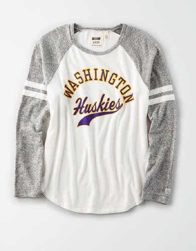 Tailgate Women's Washington Huskies Plush Raglan Shirt
