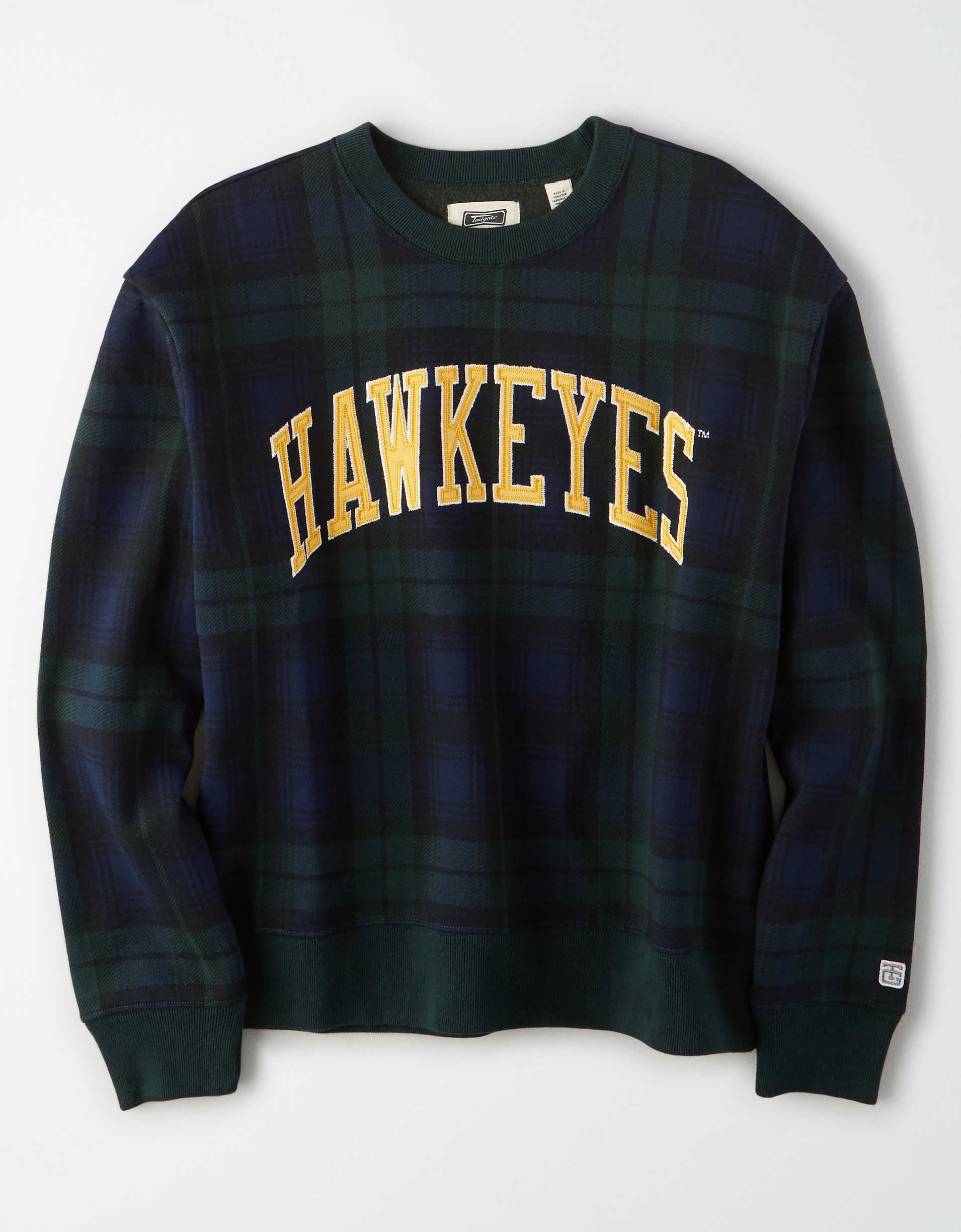 Tailgate Women's Iowa Hawkeyes Plaid Fleece Sweatshirt