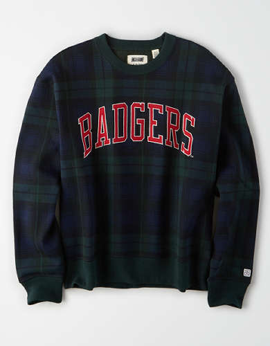 Tailgate Women's Wisconsin Badgers Plaid Fleece Sweatshirt