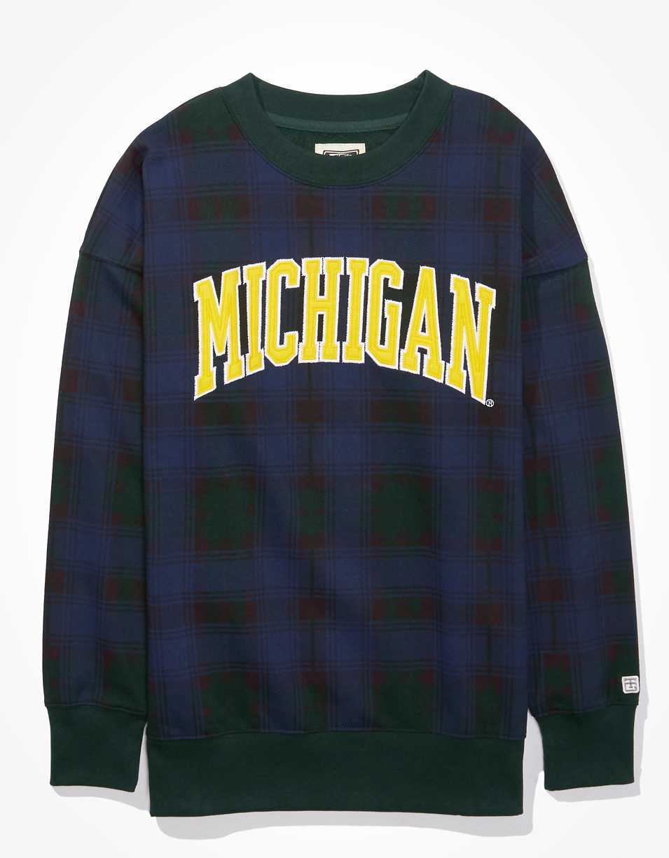 Tailgate Women's Michigan Wolverines Plaid Sweatshirt