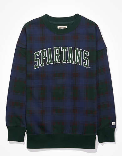 Tailgate Women's MSU Spartans Plaid Sweatshirt