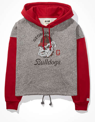 Tailgate Women's UGA Bulldogs Colorblock Cropped Hoodie