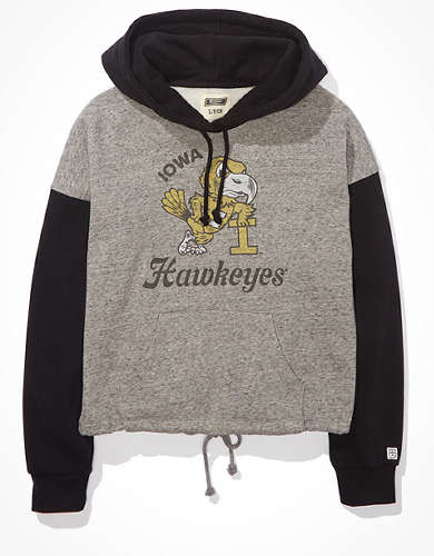 Tailgate Women's Iowa Hawkeyes Colorblock Cropped Hoodie