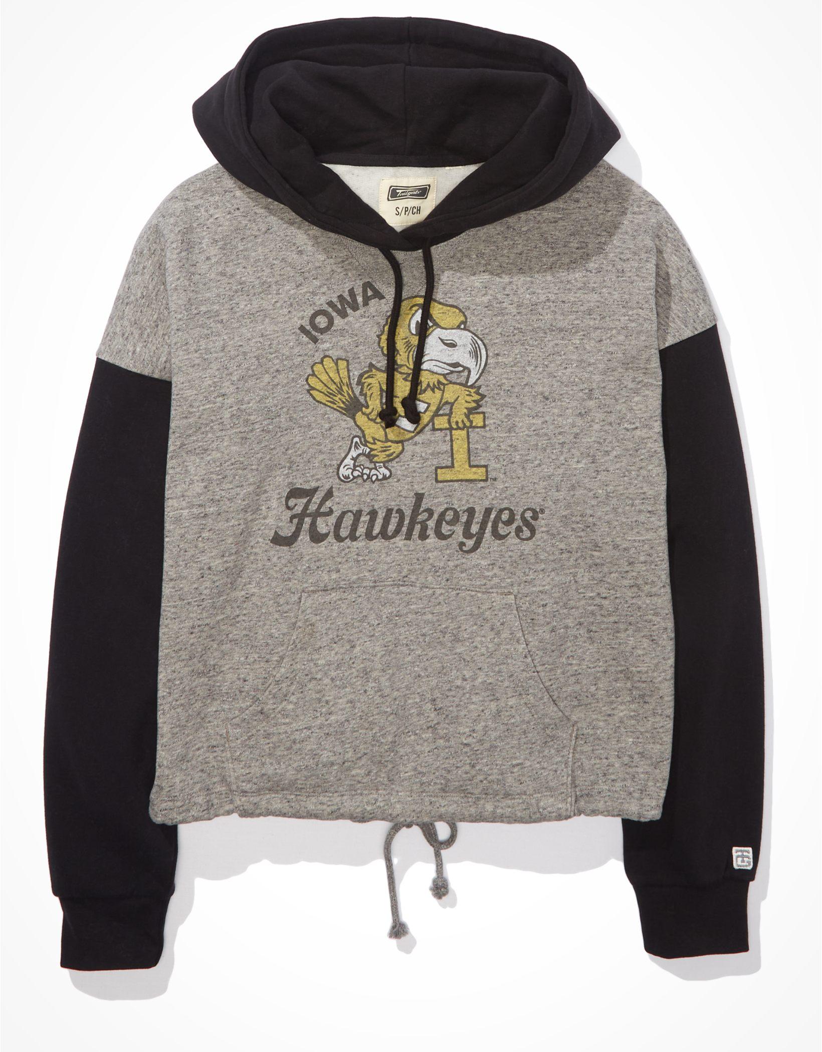 Tailgate Women's Iowa Hawkeyes Colorblock Cropped Hoodie