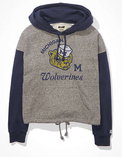 Tailgate Women's Michigan Wolverines Colorblock Cropped Hoodie