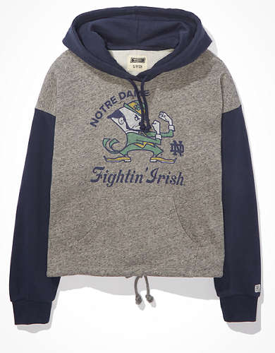 Tailgate Women's Notre Dame Colorblock Cropped Hoodie