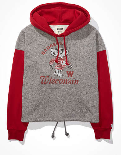 Tailgate Women's Wisconsin Badgers Colorblock Cropped Hoodie