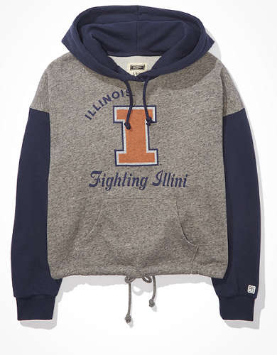 Tailgate Women's Illinois Fighting Illini Colorblock Cropped Hoodie