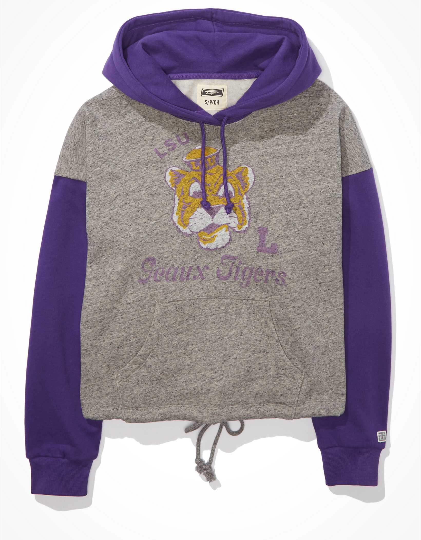 Tailgate Women's LSU Tigers Colorblock Cropped Hoodie