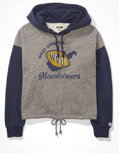 Tailgate Women's WVU Mountaineers Colorblock Cropped Hoodie